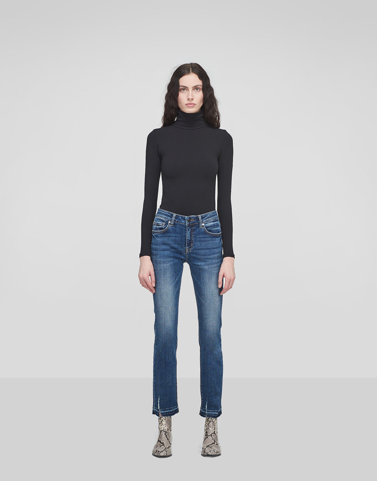 Frayed Straight Jeans