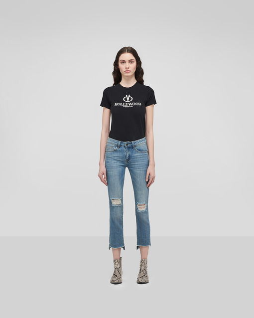 Step-Cut-Off Frayed Indigo Jeans