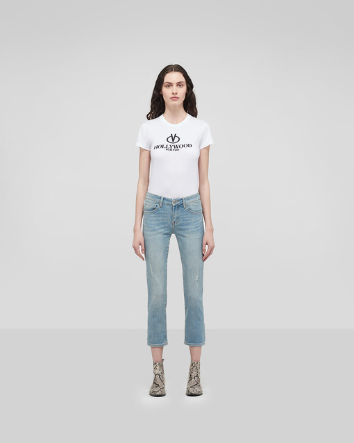 Fresh POP Cropped Straight Jeans