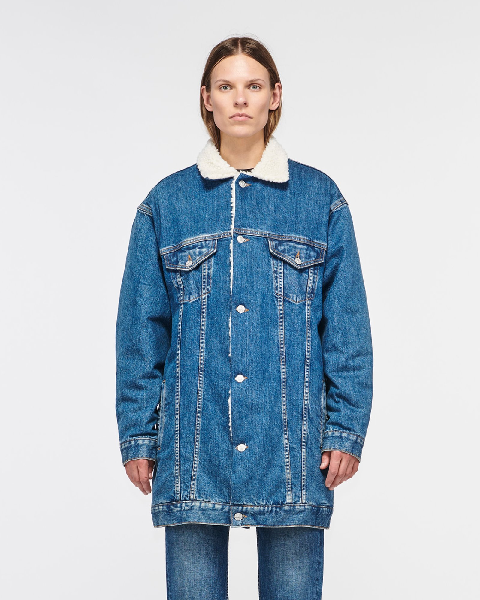 """HOLLYRIDGE"" SHERPA LONGLINE DENIM JACKET SUPERMOON"