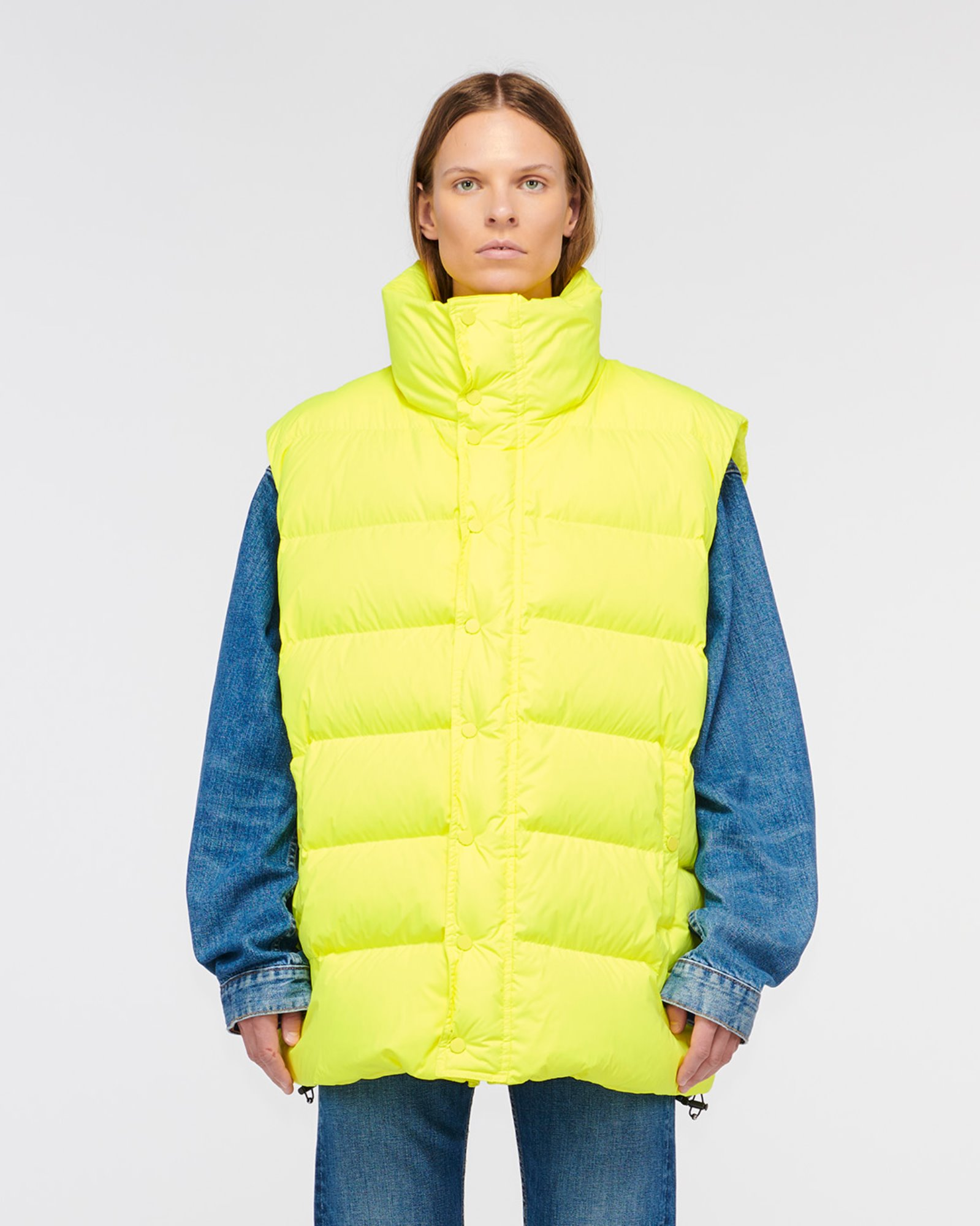 """CORRAL"" OVERSIZED DOWN VEST LEMON ZEST"