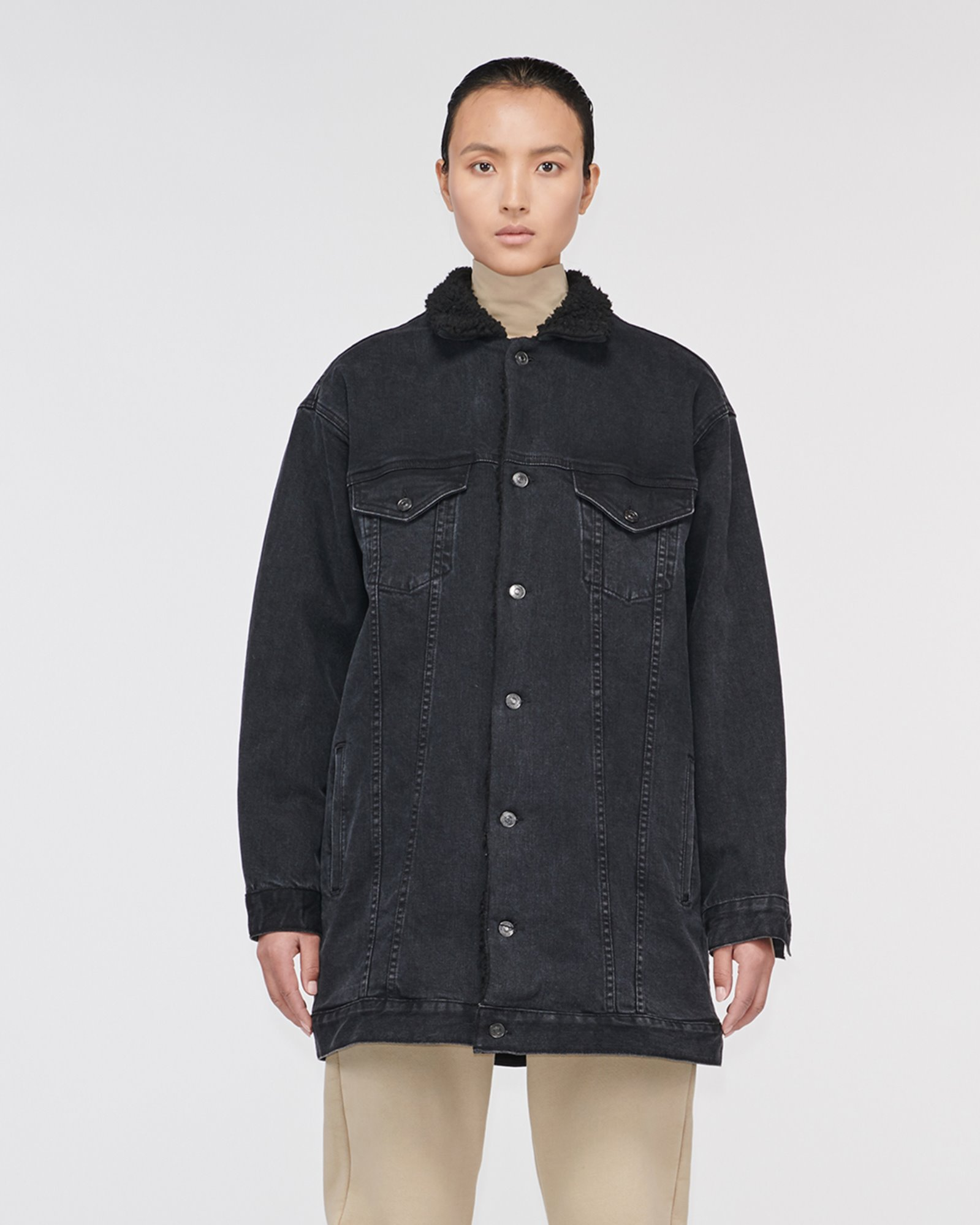 """HOLLYRIDGE"" SHERPA LONGLINE DENIM JACKET LUNAR BLACK"
