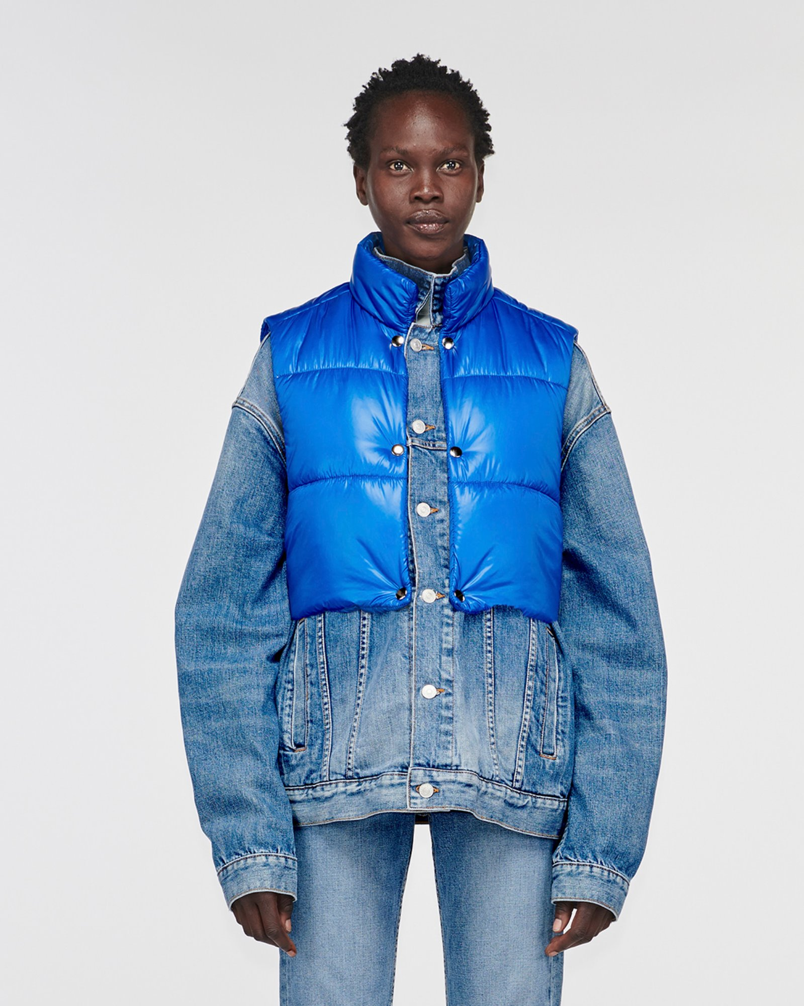 """RUNYON"" CONVERTIBLE DENIM JACKET BLUEMOON W BLUE"