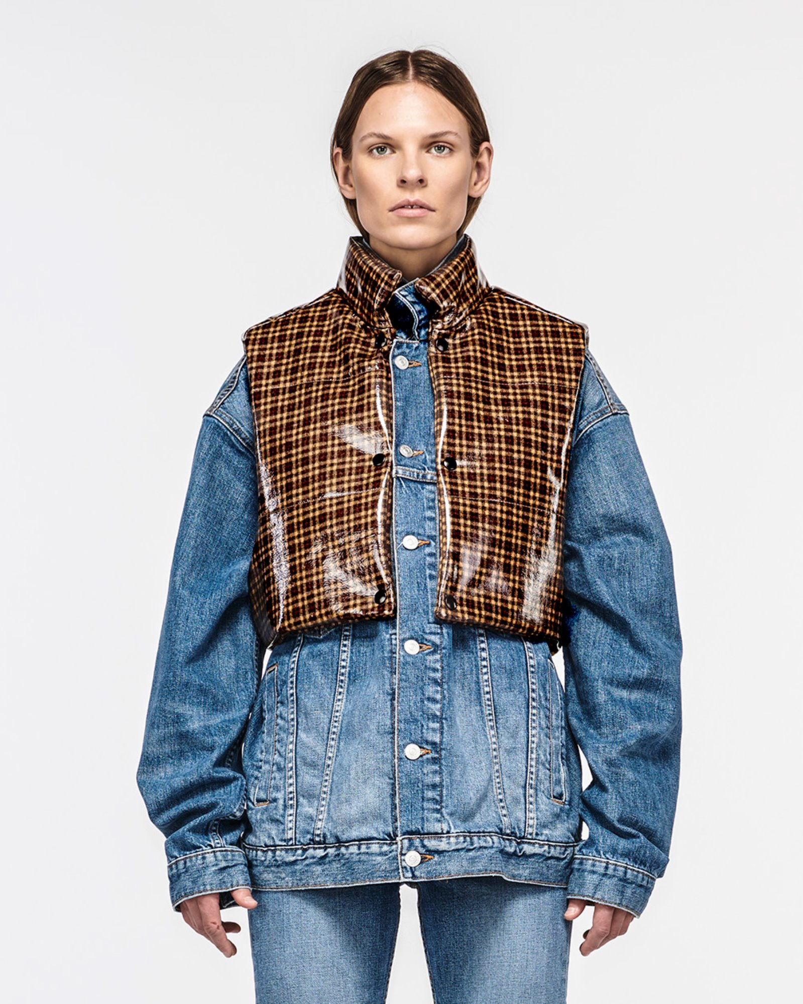 """RUNYON"" CONVERTIBLE DENIM JACKET BLUEMOON W PLAID"